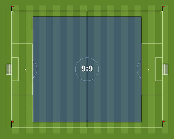Kích thước sân bóng đá Mini 9 người